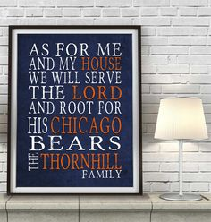 """Chicago Bears football inspired Personalized Customized Art Print- """"As for Me"""" Parody- Unframed Print"""