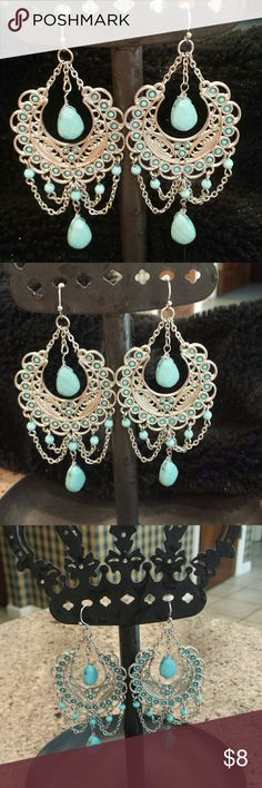 """Turquoise Gypsy Boho Chandelier Earrings Filigree and Stone Design. 3"""" Drop.  Light with a lot of presence Jewelry Earrings"""