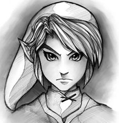 How to Draw Link Easy, Step by Step, Video Game Characters, Pop Culture, FREE Online Drawing Tutorial. Video Game Drawings, Video Game Art, Easy Drawings, Pencil Drawings, Video Games, Zelda Drawing, Manga Drawing, Tinkerbell Drawing, Online Drawing