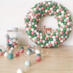 "Medium feltball wreath in ""Sweetpea Christmas Mix"", AU$95, from Down That Little Lane."