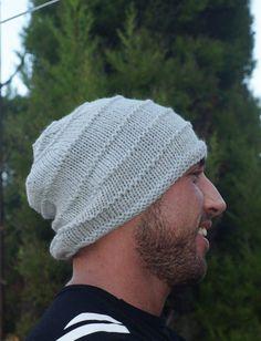 Men's Grey Hat Light Grey Slouchy Grey Hat Gray by Reginasknits