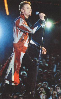 David Bowie wearing the McQueen coat in concert