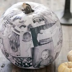 Decoupage Photo Pumpkin - This no-carve pumpkin craft doubles as delightful home decor. Use a faux pumpkin and decoupage glue for this project. USE PICS OF THE KIDS IN COSTUMES Faux Pumpkins, Halloween Pumpkins, Halloween Crafts, Holiday Crafts, Holiday Fun, Halloween Costumes, Halloween Pictures, Fall Crafts, Painted Pumpkins