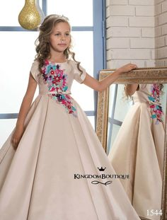 d5a87a719ce0c9 Blush Flower Girls Dresses with Short Sleeves 2017 Pentelei Colorful Floral  Satin Ball Gown Girls Christmas Gowns Floor Length