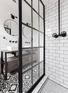 Gridscape Fixed Shower Screen Panel in Black with Clear .- Gridscape Fixed Shower Screen Panel in Black with Clear Glass meg schultz - Bad Inspiration, Bathroom Inspiration, Industrial Bathroom, Modern Bathroom, Minimalist Bathroom, Black Bathrooms, Brown Bathroom, Modern Industrial, Black And White Bathroom Ideas