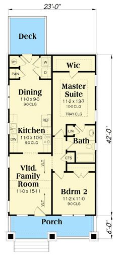2 Bed Bungalow House Plan with Vaulted Family Room - 75565GB | Cottage, Craftsman, Narrow Lot, 1st Floor Master Suite, CAD Available, PDF | Architectural Designs
