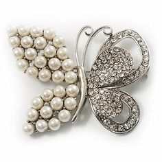 Unique Faux Pearl Crystal Butterfly Brooch Avalaya. $19.71. Metal Finish: rhodium plated. Occasion: wedding, bridal, anniversary, mothers day, cocktail party. Gemstone: faux pearl, diamante. Material: pearls. Style: contemporary. Save 30% Off!