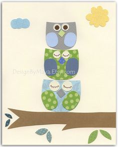 Nursery print Baby Room Decor Birds baby owl..3 stacked owl, another easy DIY