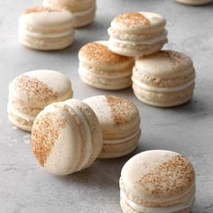 These macarons are a winter/fall staple for me—inspired by the classic cinnamon roll, they are a delicious treat for a cold or snowy day. These pair well with a mug of tea, and can be eaten as a dessert or just a snack. Try custard, mousse, ganache, or any other buttercream as fillings, too. —Elizabeth Ding, El Cerrito, California Baking Recipes, Cookie Recipes, Dessert Recipes, Dinner Recipes, Amish Recipes, Baking Tips, Bread Baking, Macaron Fimo, Tea Cakes