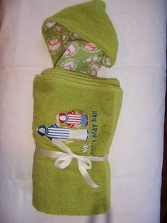 Let's Play Ball Hooded Towel by familytreasures4 on Etsy, $24.00