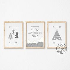Grey Nursery Decor, Let The Adventure Begin, Kids Print Set, Mountains Decor, Typographic Print
