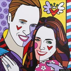 As You've Never Seen Them Before: Madonna's Pop Artist Romero Britto Paints Duke And Duchess Of Cambridge