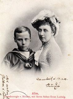 """Prince Ernst Ludwig of Hesse (Darmstadt) and by Rhine and his mother,Princess Alice,Grand Duchess of Hesse (nee Princess of the United Kingdom). """""""