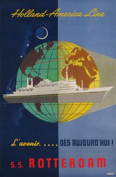 Holland - America Line Rotterdam original vintage travel advertisement poster from 1955. Shop online at www.antiqueposters.com