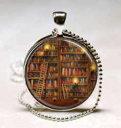 Library Book Necklace Glass Dome Art Pendant with Ball Chain