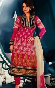 Picture of Elegant Pink Color Designer Party Wear Salwar Kameez