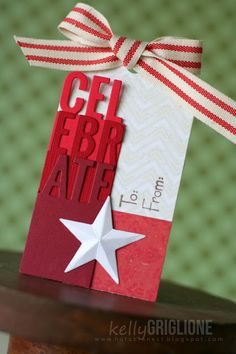 Celebrate die split into thirds for a gift tag (Die Namics MFT Accent It) 25 Days Of Christmas, Christmas Gift Tags, Xmas, Scrapbook Paper Projects, Cricut Cards, Winter Theme, Hanukkah, A Table, Card Making
