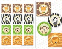 Safari cupcake toppers Safari baby shower Safari birthday