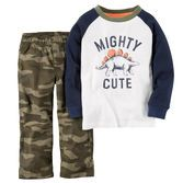 He's looking mighty cute in a raglan tee and camo canvas. Pair this convenient 2-piece set with casual sneakers for a dino-mite style.<br>