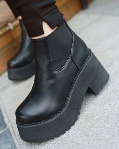 """0b07c1d01ce LEATHER BLACK MASSIVE PLATFORM BOOTSUse coupon """"ITPIN"""" to get 10% OFF  entire order. itGirl Shop"""