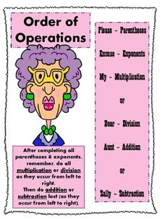 "Download this image and use it as a poster or handout to remind your students of the order of operations. This resource uses the ""Please excuses my dear Aunt Sally"" pneumonic device."