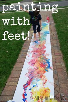 with Feet Embrace messy fun! This is our FAVORITE art activity! Do you do messy art? This is our FAVORITE art activity! Do you do messy art? Painting For Kids, Art For Kids, Children Painting, Summer Painting, Toddler Painting Ideas, Painting Art, Toddler Crafts, Crafts For Kids, Toddler Art