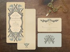 Deco Wedding Invitations Save the Dates Vintage by GoGoSnap