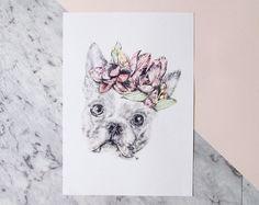 A4 8x10 Print Boston Terrier Pencil Drawing with by DrawnByCarmen