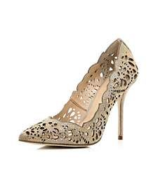 Gold laser cut embellished court shoes- River Island