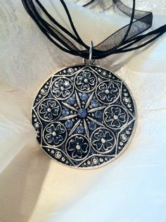 Gothic Cathedral Black & Blue Pendant by NorthCoastCottage on Etsy