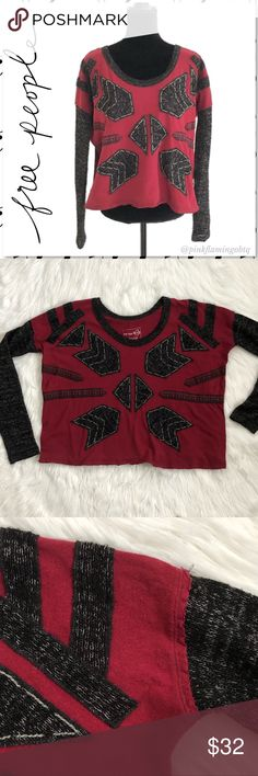 Free People Tribal Arrow Mix Media Sweater XS Free People We the Free Tribal Arrow Embroidered Mix knit Sweater. This shirt has such unique details! Maroon red body is a cotton short sleeve shirt that has knit sweater arms attached with raw marled hems. Same sweater material is used to form the arrow tribal pattern embroidery on front. Oversized boxy loose fit can fit up to a M. Good used condition. Only flaw is tiny hole on bottom of shirt (pictured) Photos are best descriptors. Approximate…
