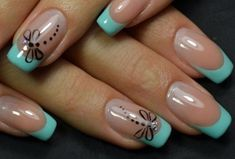 cool Classic & Delicate French Manicure & other Beautiful Nail Art Designs . cool Classic & Delicate French Manicure & other Beautiful Nail Art Designs 2016 2017 Mint Nail Designs, Nail Art Designs 2016, Nail Art Design Gallery, French Manicure Designs, Nail Designs Spring, Nails Design, Design Design, Mint Green Nails, Mint Nails