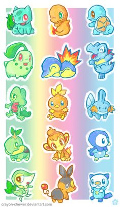 Pokemon Starters all five generations. Kanto, Johoto, Holon, Sinnoh and Unova