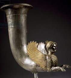 Silver rhyton protome in shape of winged sphinx and with decoration on neck, from Borovo Treasure, Ruse Region, Bulgaria, Goldsmith art, Thracian Civilization, 4th Century BCE