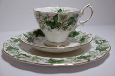 Vintage Royal Albert Tea Cup Trio Ivy Lea English Bone