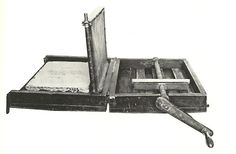 lithoshop:  Senefelder's portable lithography press, 1818. Senefelder made this press to take to Pictionary parties, but soon found that people would get irritable and leave after it took him 3 hours to draw, process and print the image.