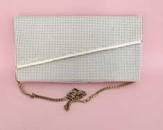 White Glomesh evening shoulder bag / clutch purse, original box and warranty, made in Australia, 1981 by CardCurios on Etsy Clutch Purse, Mesh, Australia, Shoulder Bag, Handbags, Purses, The Originals, Box, How To Make