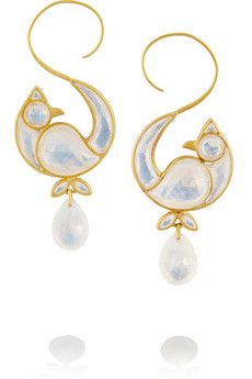 MUNNU 22-karat gold moonstone earrings | NET-A-PORTER
