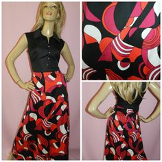 Vintage 70s GEOMETRIC Art Nouveau Bold PSYCHEDELIC Black/Red/Pink Iconic maxi dress 12-14 M 1970s Evening Bright Unique by HoneychildLoves on Etsy