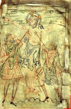The Crucifixion, with one Roman soldier piercing Christ's side with a spear, the other holding a sponge. The Tiberius Psalter. Anglo-Saxon England (Winchester), British Library Cotton Tiberius C VI Ancient Art, Ancient History, Ottonian, Medieval Art, Medieval Dress, Carolingian, Viking Clothing, 17th Century Art, Early Middle Ages
