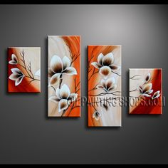 Enchant Contemporary Wall Art High Quality Oil Painting For Bed Room Tulip Flowers. This 4 panels canvas wall art is hand painted by Anmi.Z, instock - $138. To see more, visit OilPaintingShops.com