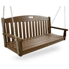 This classic porch swing is made in the USA and built for durability and lasting good looks. It's constructed of solid, eco-friendly HDPE recycled lumber that won't rot, crack or splinter and never needs to be painted or stained. The swing comes in other colors, including black, white, green and shades of brown. It coordinates with other outdoor furniture pieces from Trex Outdoor, too.
