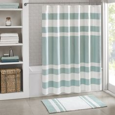 Update your space with the Madison Park Spa Waffle Shower Curtain with 3M Treatment.