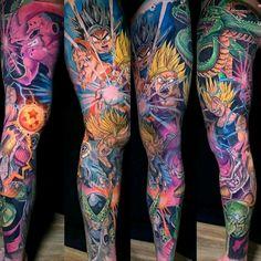 Dragon Ball sleeve by Derek Turkotte. #tattoodo #TattoodoApp #tattoodoBR #tatuagem #tattoo #colorida #colorful #dragonball #anime #comics #nerd #geek #DerekTurkotte