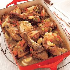 Put this classic French comfort dish, Chicken with 40 Cloves of Garlic, on your weekly menu. Yes, it has 40 cloves of garlic but it delivers a mild flavor your family will love. Slow Cooker Recipes, Crockpot Recipes, Cooking Recipes, Crockpot Dishes, Cooking Hacks, Slow Cooking, Cooking Ideas, Casserole Recipes, Garlic Recipes