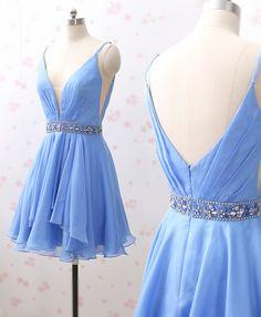 33139a4a84e Straps V Neck Chiffon Short Prom Homecoming Dress Blue Wedding Party Dress