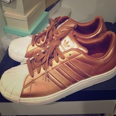 Copper Adidas Worn once! Kids size adidas in 6 1/2. Great condition. Discontinued color. Adidas Shoes Sneakers