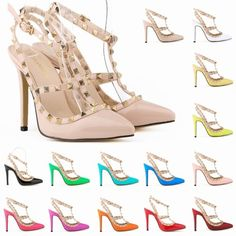 Fashion rivets shoes high-heeled shoes pointed toe hasp thin heels sandals shoes rivet valentin pointed toe shoes female sandals