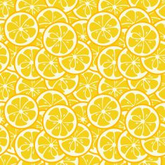 Cute seamless pattern with yellow lemon slices vector art illustration