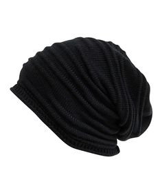 Black Pleated Slouchy Beanie